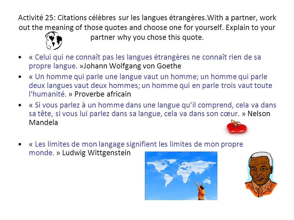 Activité 25: Citations célèbres sur les langues étrangères