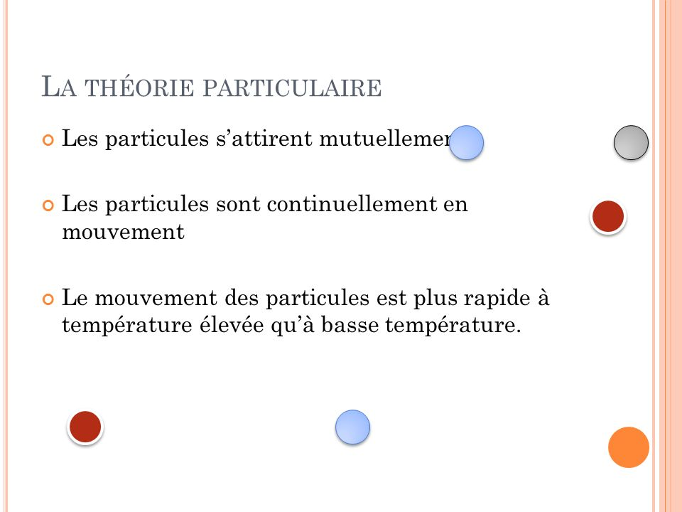 La théorie particulaire