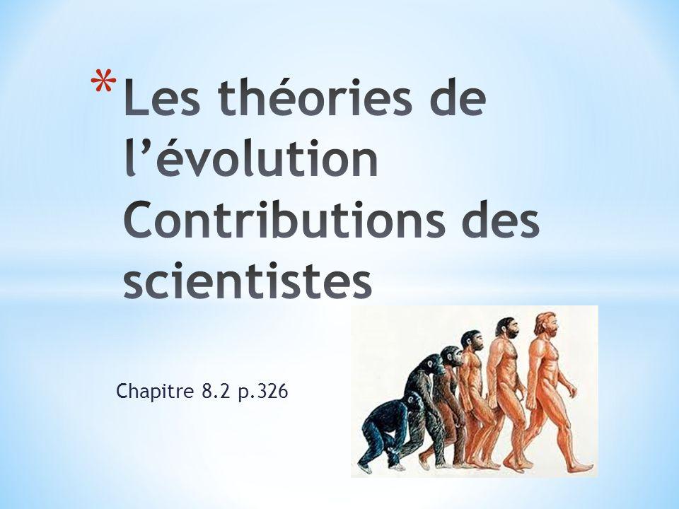 Les théories de l'évolution Contributions des scientistes