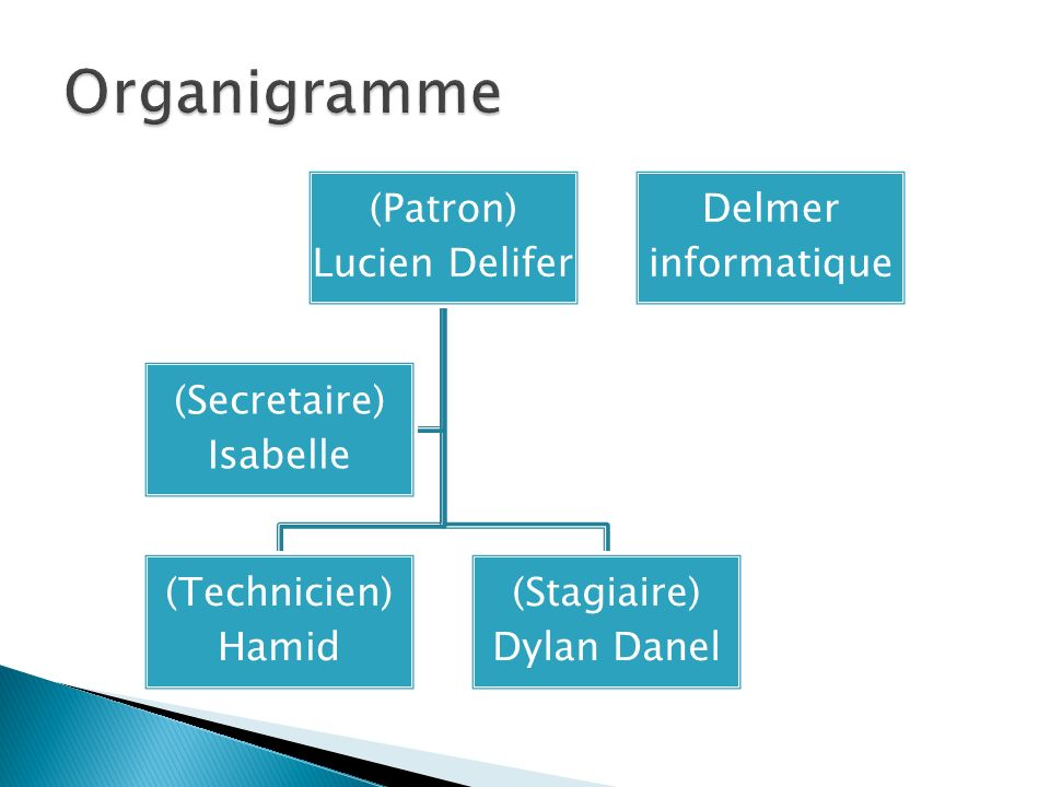 Organigramme (Patron) Lucien Delifer (Technicien) Hamid