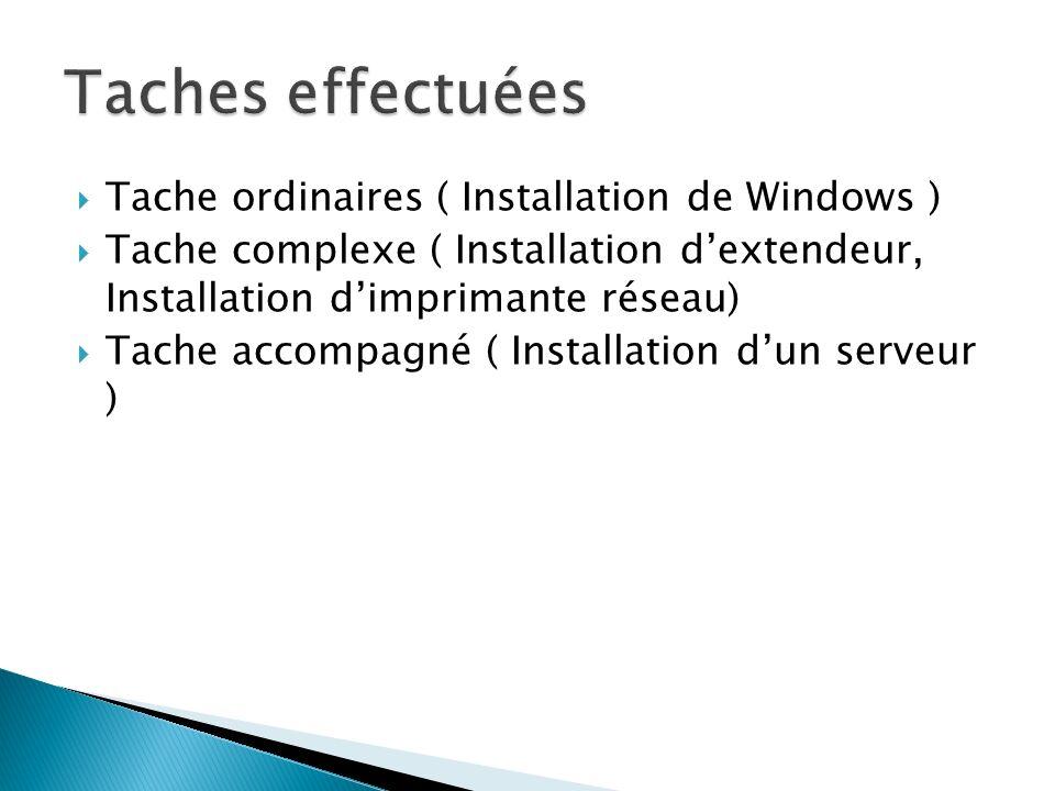 Taches effectuées Tache ordinaires ( Installation de Windows )