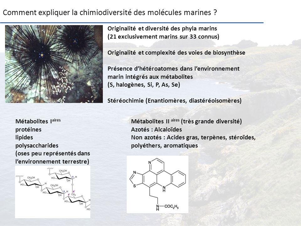 Comment expliquer la chimiodiversité des molécules marines