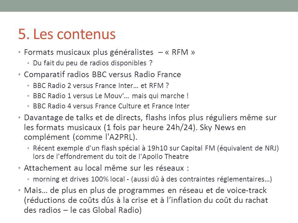5. Les contenus Formats musicaux plus généralistes – « RFM »