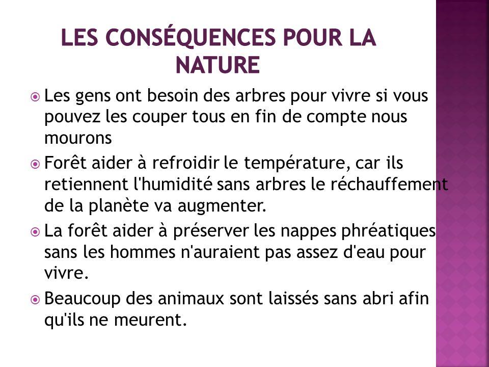 Les conséquences pour la nature