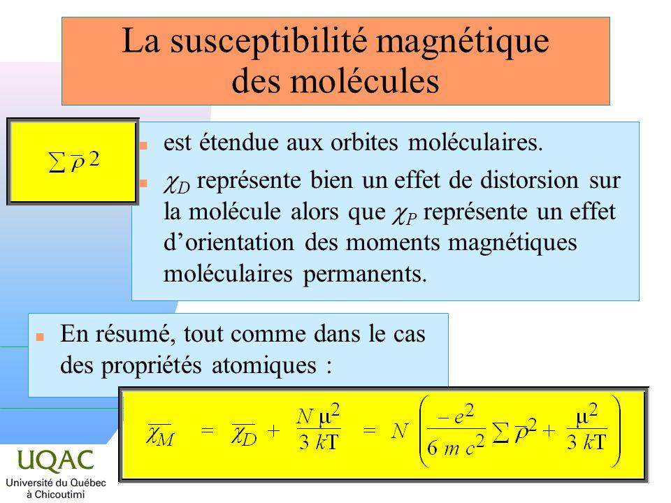 La susceptibilité magnétique des molécules
