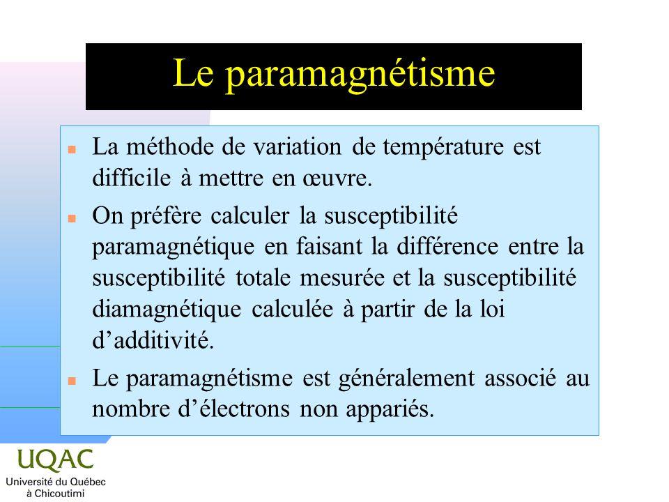 Le paramagnétisme La méthode de variation de température est difficile à mettre en œuvre.