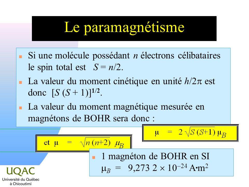 Le paramagnétisme Si une molécule possédant n électrons célibataires le spin total est S = n/2.