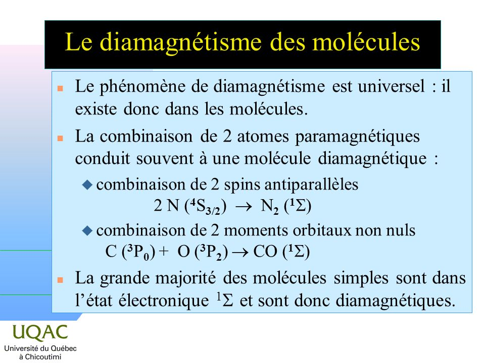 Le diamagnétisme des molécules