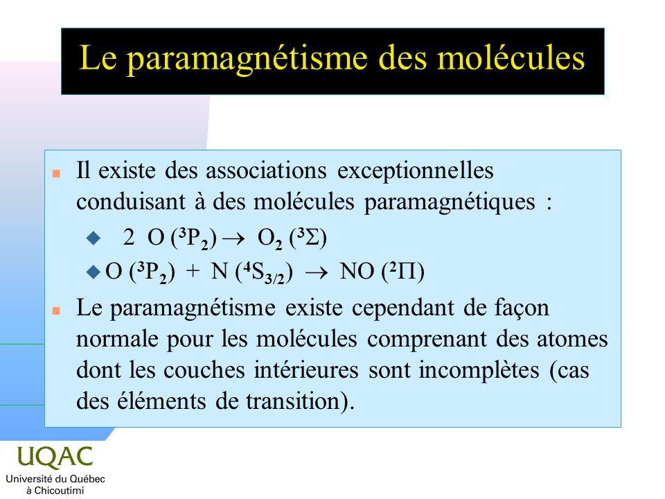 Le paramagnétisme des molécules
