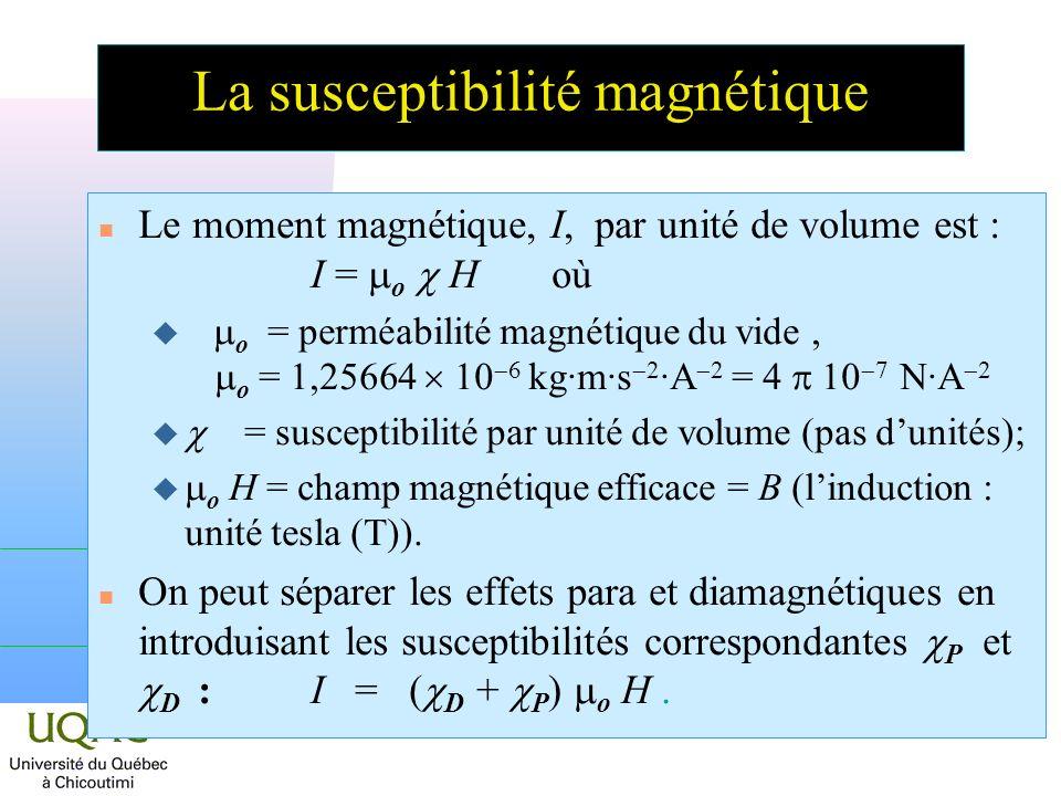 La susceptibilité magnétique