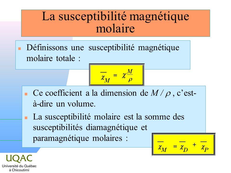 La susceptibilité magnétique molaire