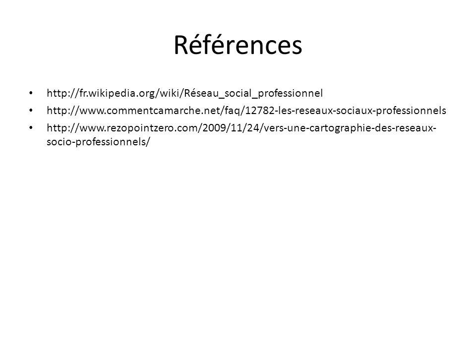 Références http://fr.wikipedia.org/wiki/Réseau_social_professionnel