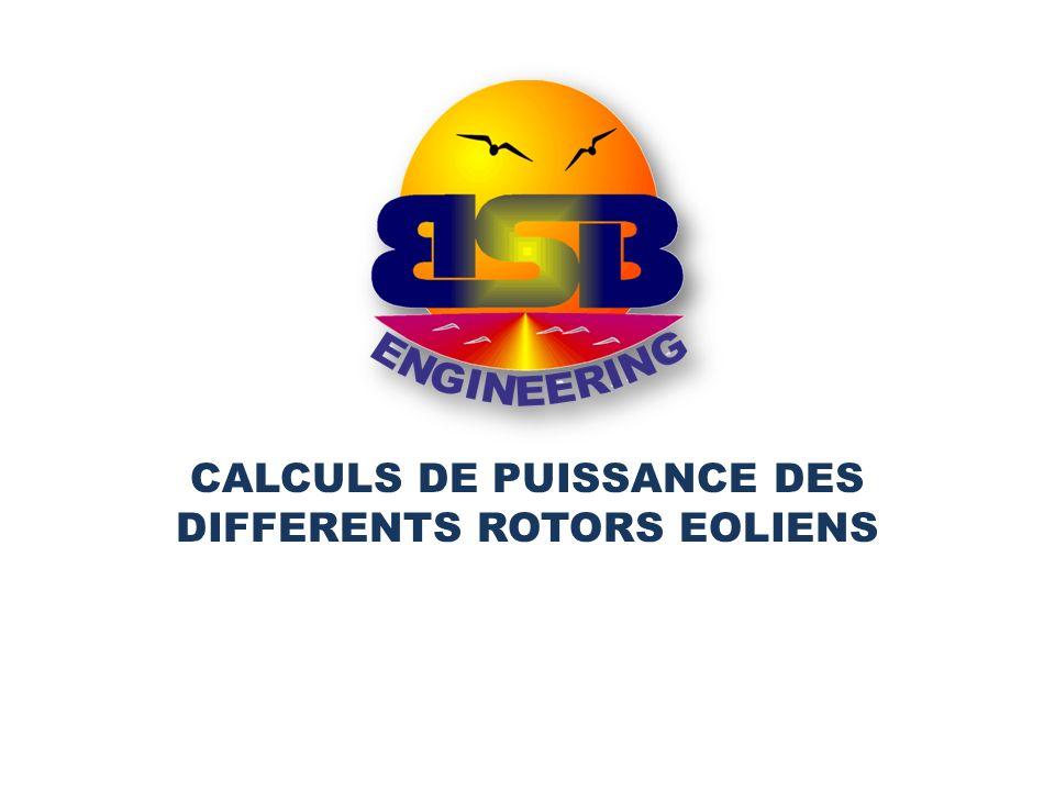 CALCULS DE PUISSANCE DES DIFFERENTS ROTORS EOLIENS
