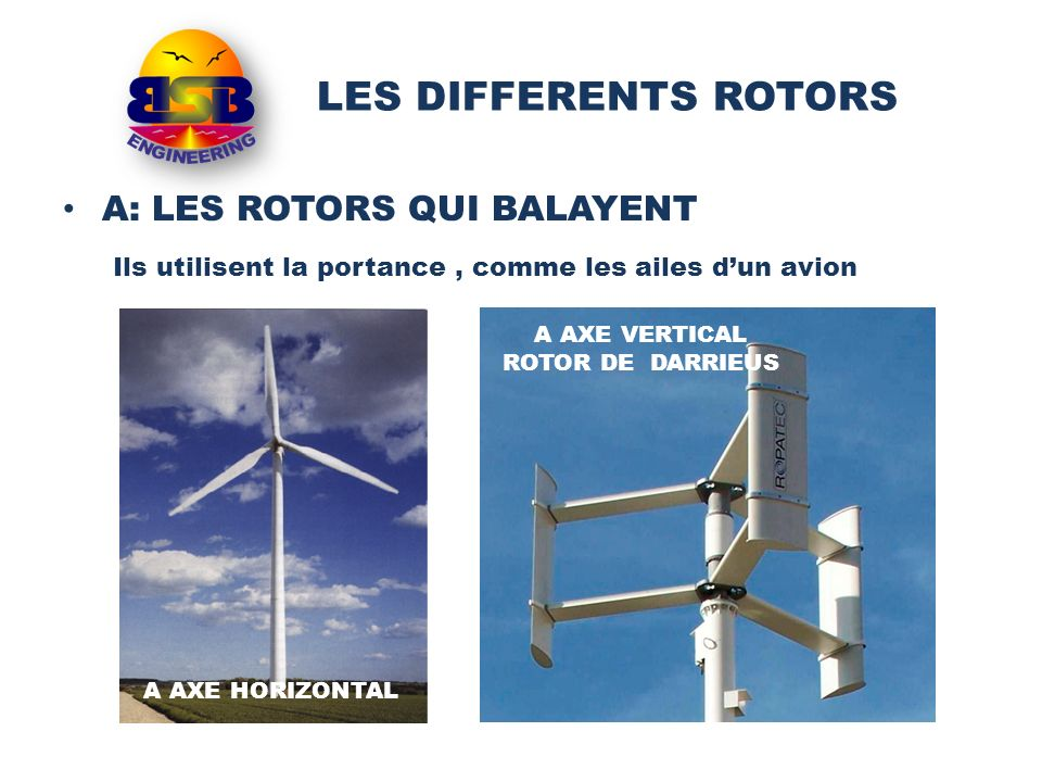 LES DIFFERENTS ROTORS A: LES ROTORS QUI BALAYENT