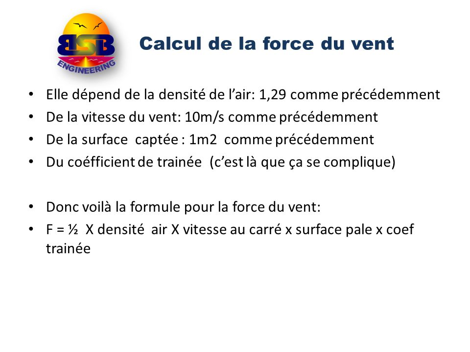 Calcul de la force du vent