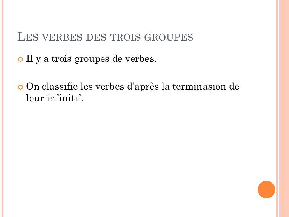 Les verbes des trois groupes