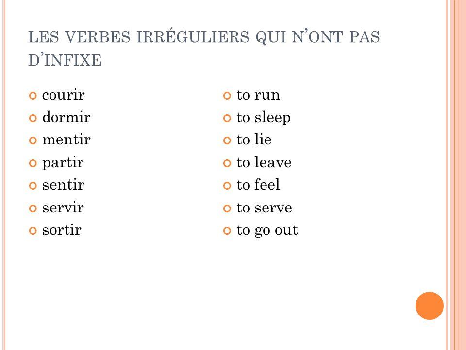 les verbes irréguliers qui n'ont pas d'infixe