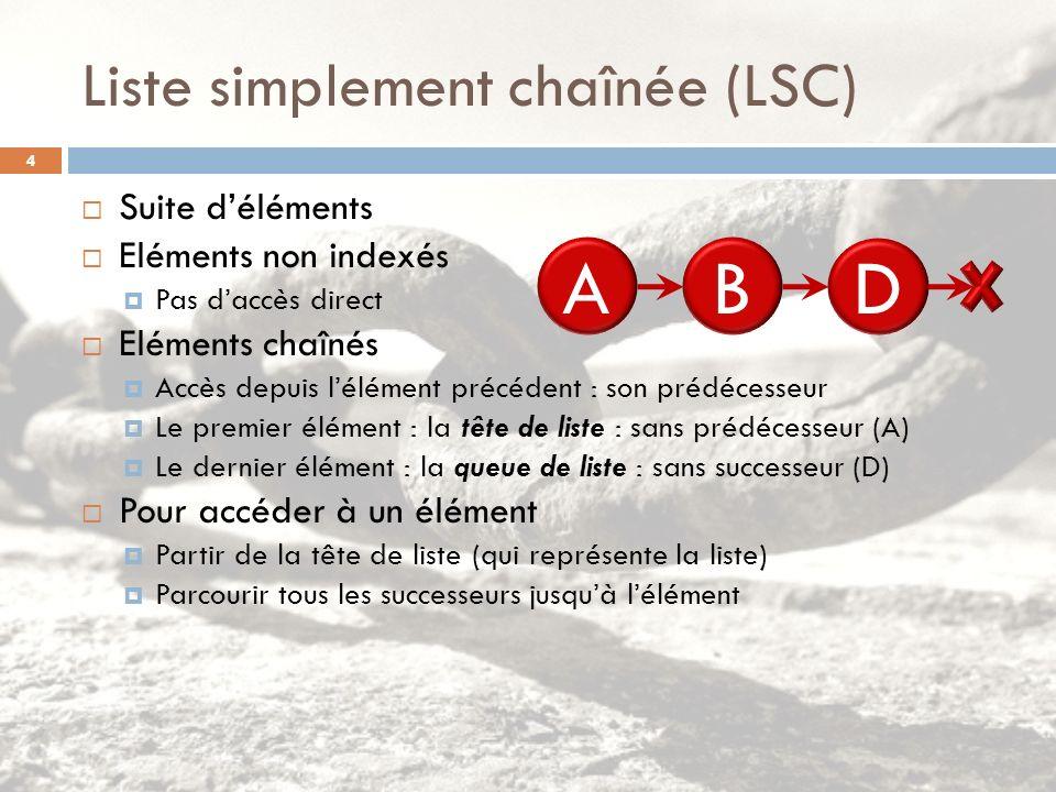 Liste simplement chaînée (LSC)