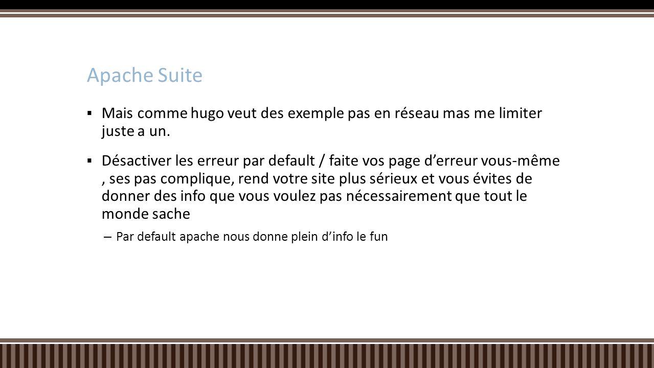 Apache Suite Mais comme hugo veut des exemple pas en réseau mas me limiter juste a un.