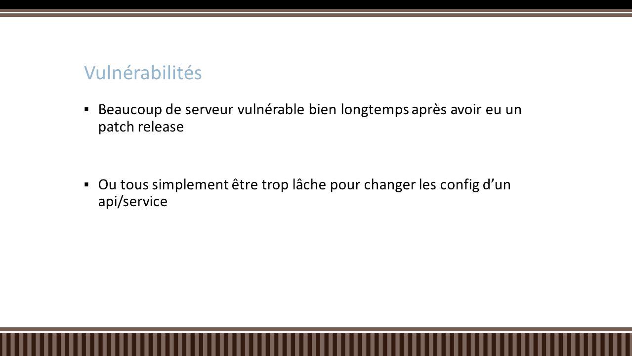 Vulnérabilités Beaucoup de serveur vulnérable bien longtemps après avoir eu un patch release.