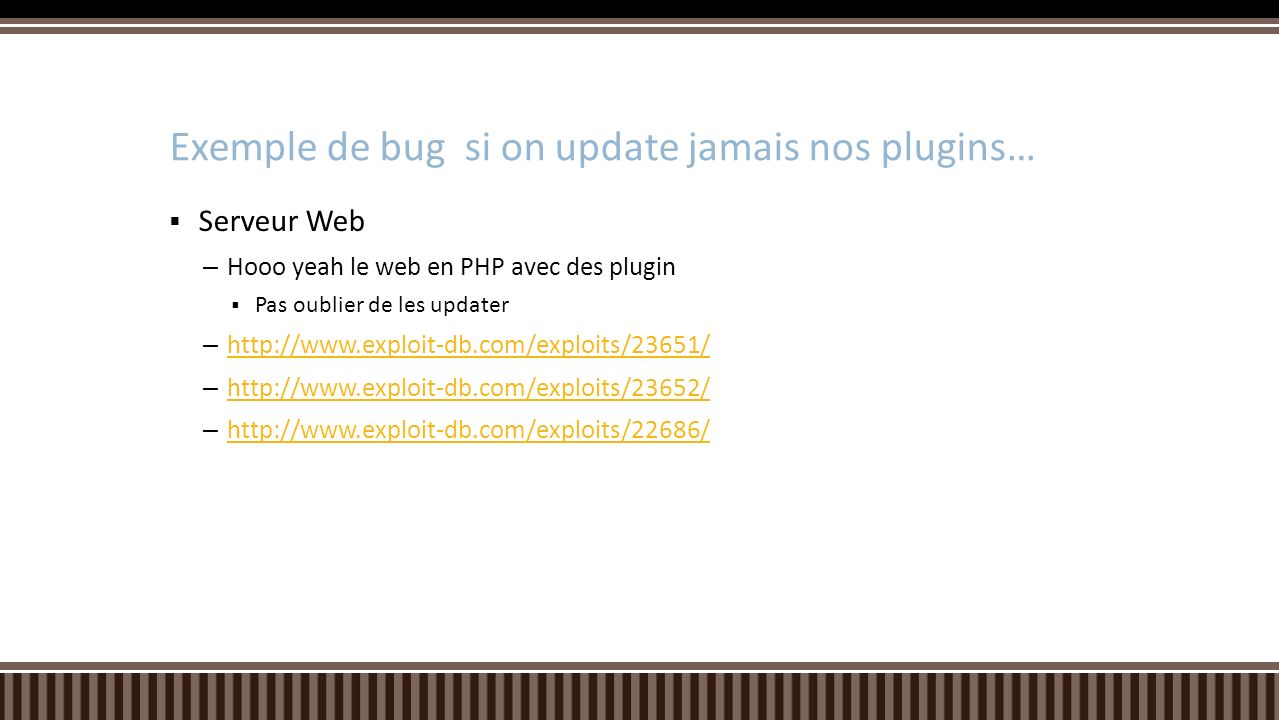 Exemple de bug si on update jamais nos plugins…