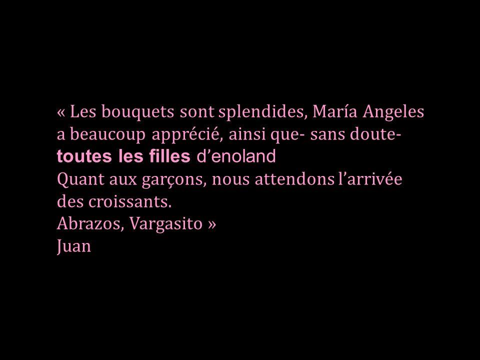 « Les bouquets sont splendides, María Angeles a beaucoup apprécié, ainsi que- sans doute- toutes les filles d'enoland