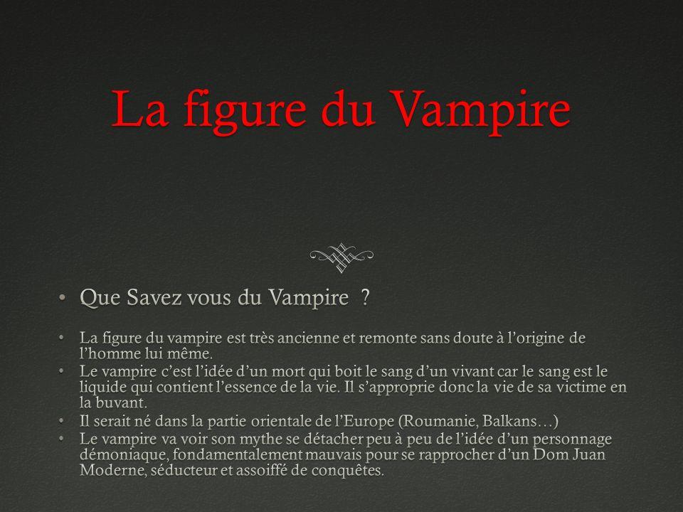 La figure du Vampire Que Savez vous du Vampire