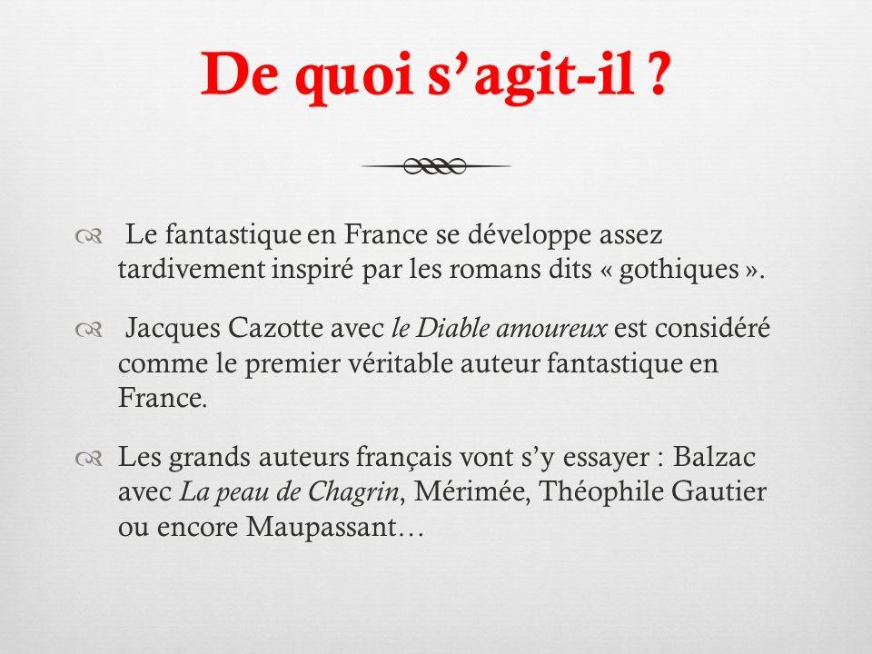 De quoi s'agit-il Le fantastique en France se développe assez tardivement inspiré par les romans dits « gothiques ».