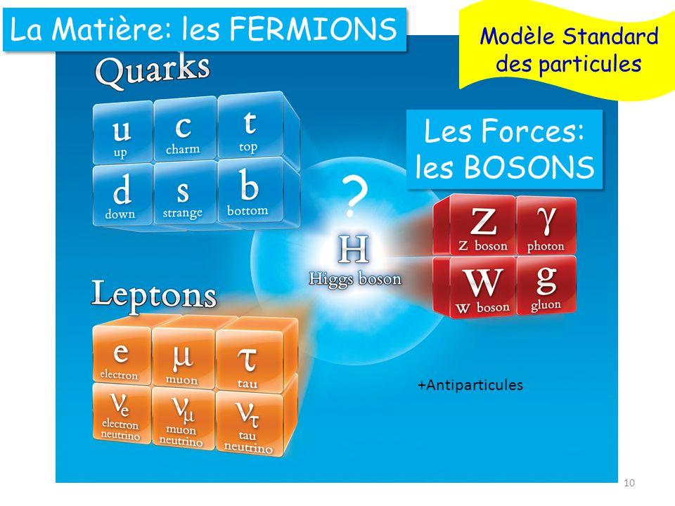 La Matière: les FERMIONS Les Forces: les BOSONS Modèle Standard