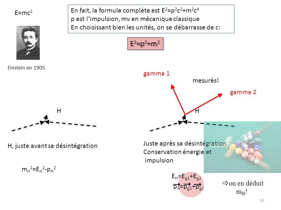 E2=p2+m2 En fait, la formule complète est E2=p2c2+m2c4