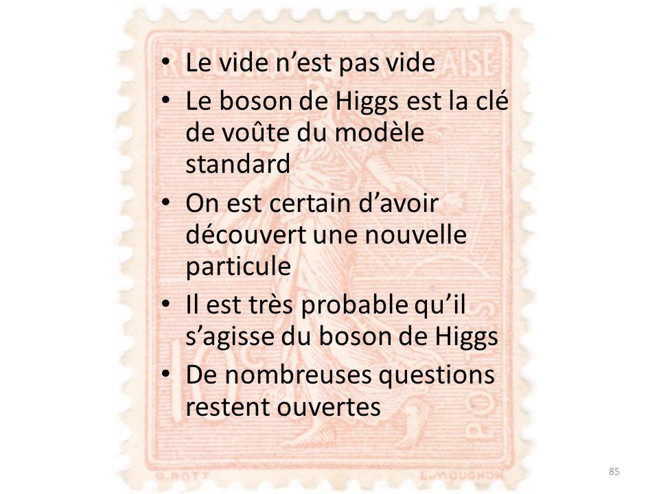 Le vide n'est pas vide Le boson de Higgs est la clé de voûte du modèle standard. On est certain d'avoir découvert une nouvelle particule.