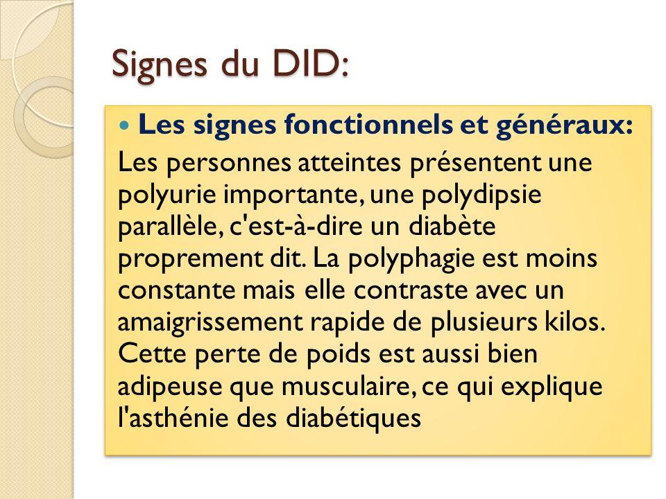 Signes du DID: Les signes fonctionnels et généraux:
