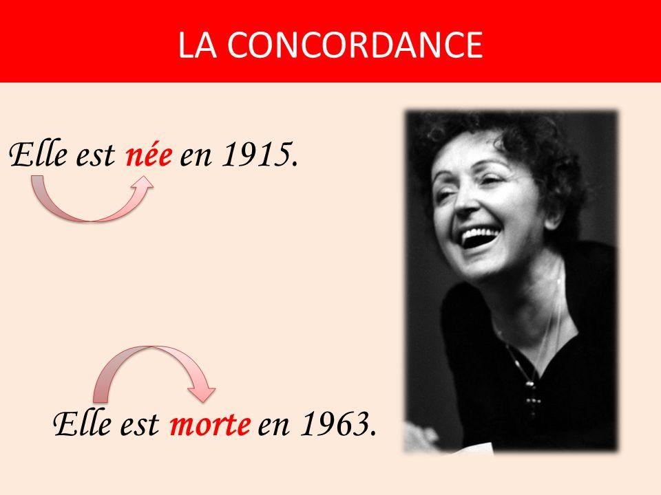 LA CONCORDANCE Elle est née en 1915. Elle est morte en 1963.