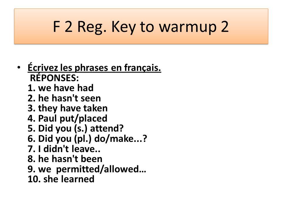 F 2 Reg. Key to warmup 2
