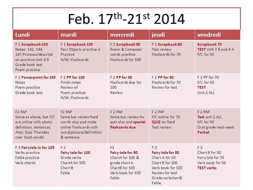 Feb. 17th-21st 2014 Lundi mardi mercredi jeudi vendredi