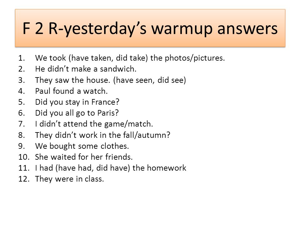 F 2 R-yesterday's warmup answers