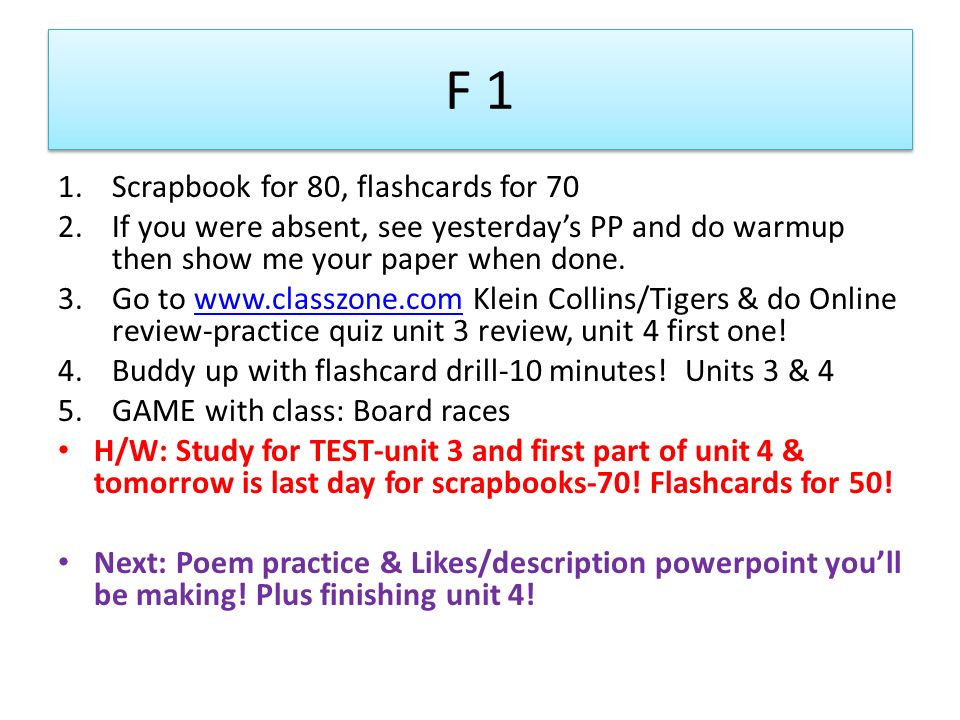 F 1 Scrapbook for 80, flashcards for 70