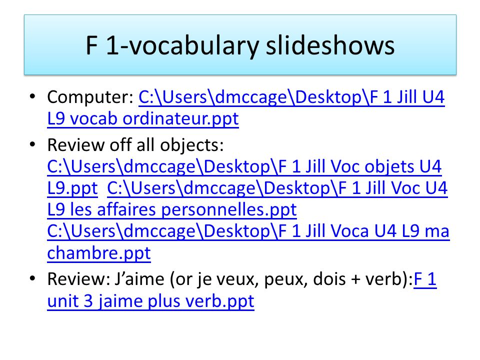 F 1-vocabulary slideshows