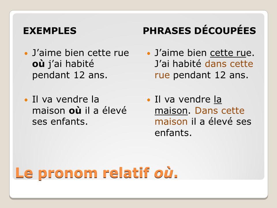 Le pronom relatif où. EXEMPLES PHRASES DÉCOUPÉES