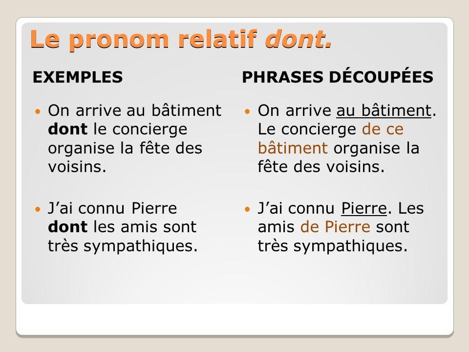 Le pronom relatif dont. EXEMPLES PHRASES DÉCOUPÉES