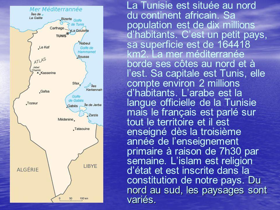 La Tunisie est située au nord du continent africain