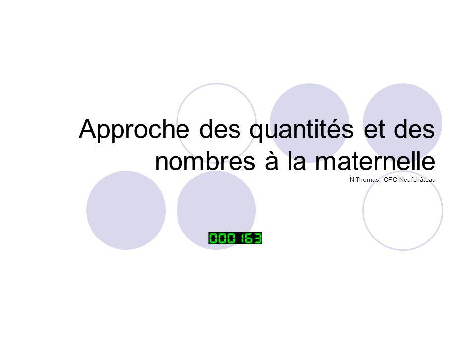 Approche des quantités et des nombres à la maternelle N Thomas, CPC Neufchâteau