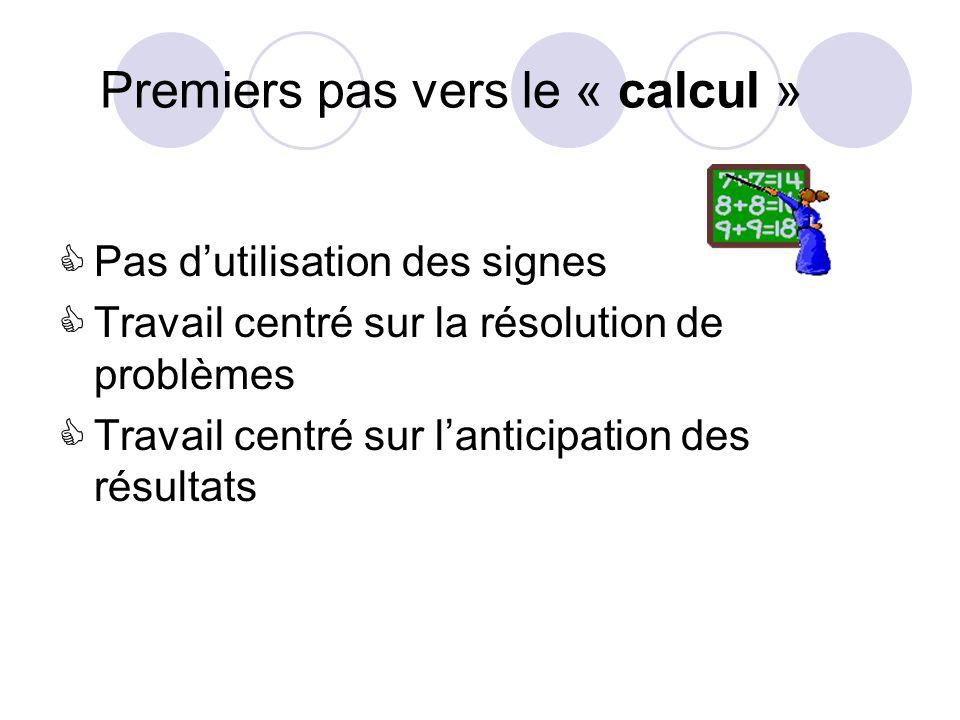 Premiers pas vers le « calcul »