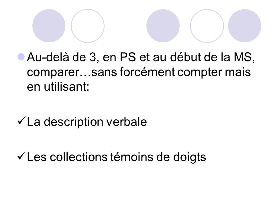 La description verbale Les collections témoins de doigts