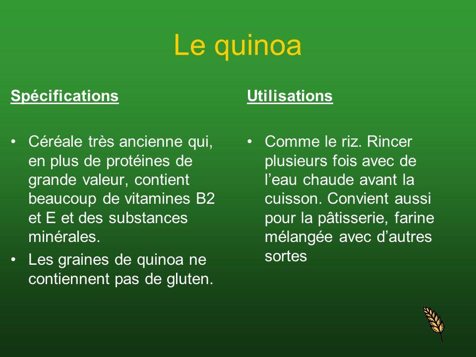Le quinoa Spécifications