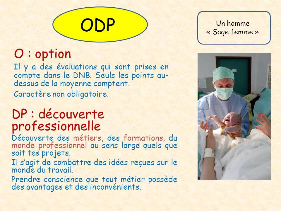 ODP O : option DP : découverte professionnelle