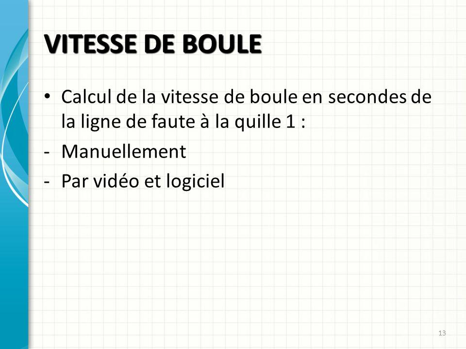 VITESSE DE BOULE Calcul de la vitesse de boule en secondes de la ligne de faute à la quille 1 : Manuellement.