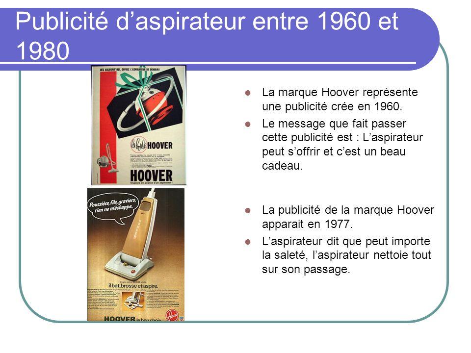 Publicité d'aspirateur entre 1960 et 1980