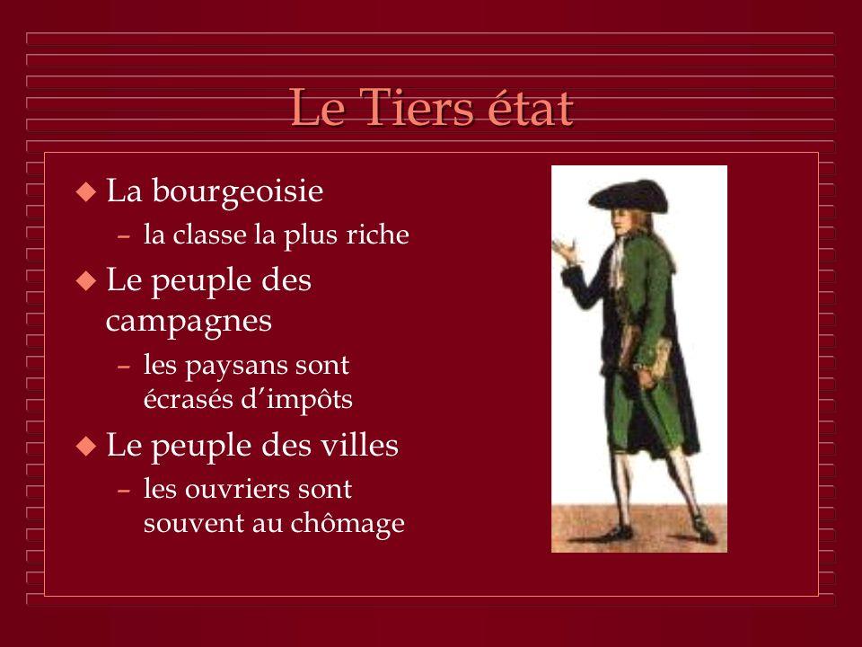 Le Tiers état La bourgeoisie Le peuple des campagnes