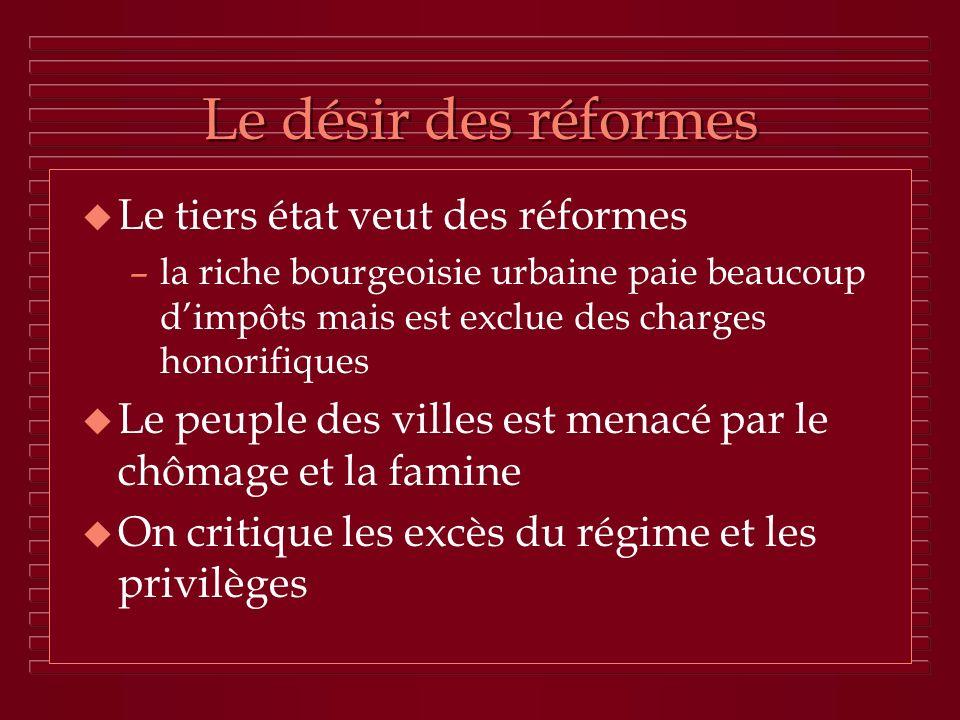 Le désir des réformes Le tiers état veut des réformes